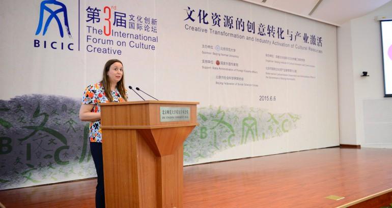 Sarah Thirtle speaking in Beijing