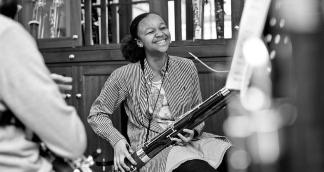 Image of girl playing the bassoon