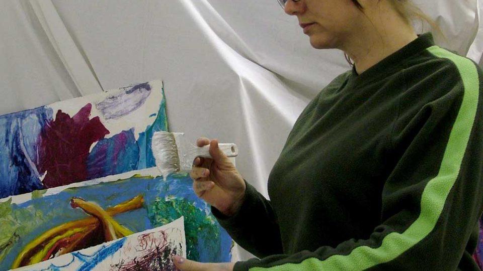 Julie Caves in the studio