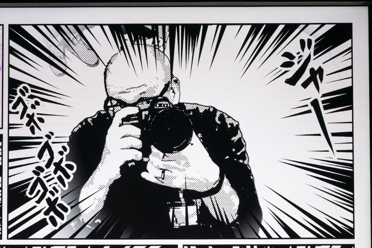 Graphic illustration of a photographer