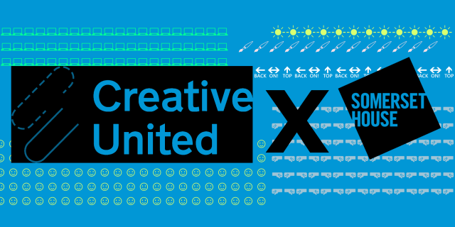 Promotional banner showcasing the logos of Creative United and Somerset House