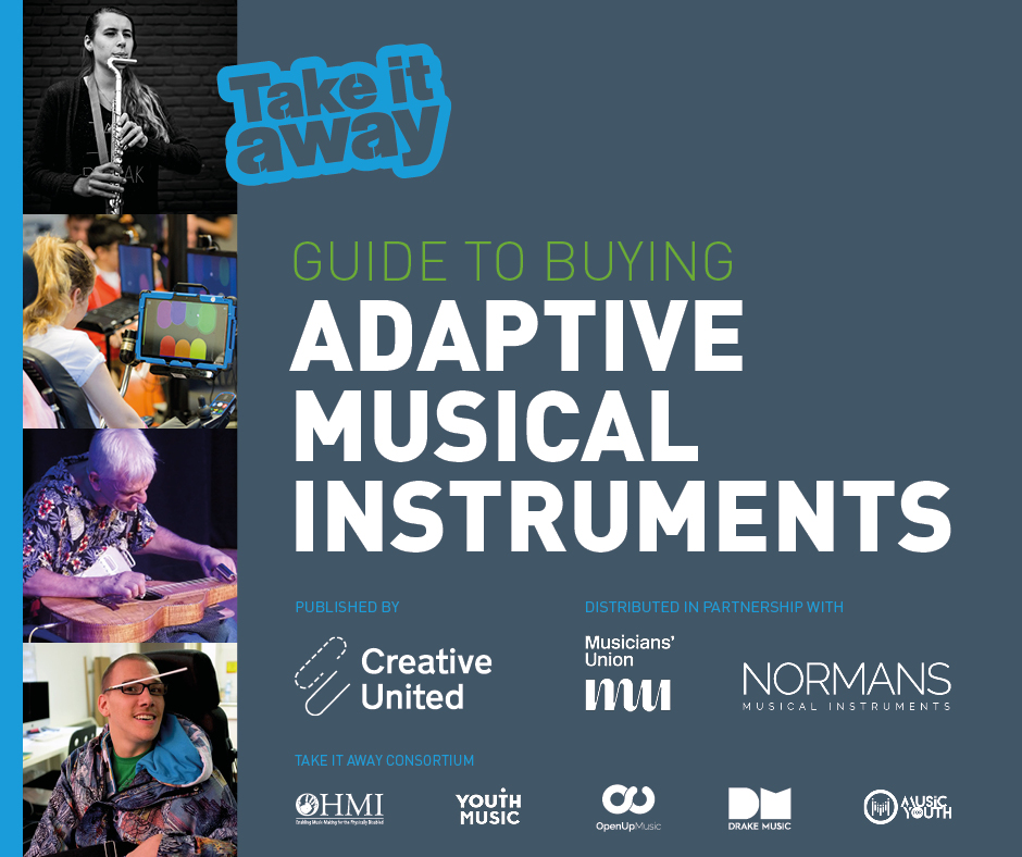 Graphic image, dark blue background with white text that reads Guide to Buying Adaptive Musical Instruments