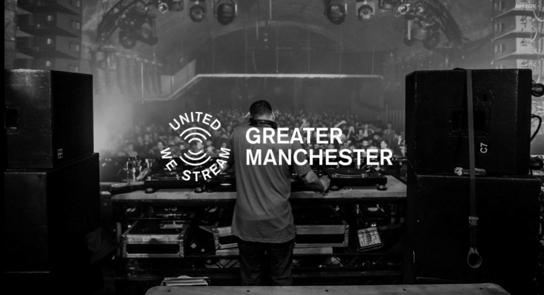 Image of a DJ with a crowd in front of him and the words 'United We Stream', Greater Manchester written across it.
